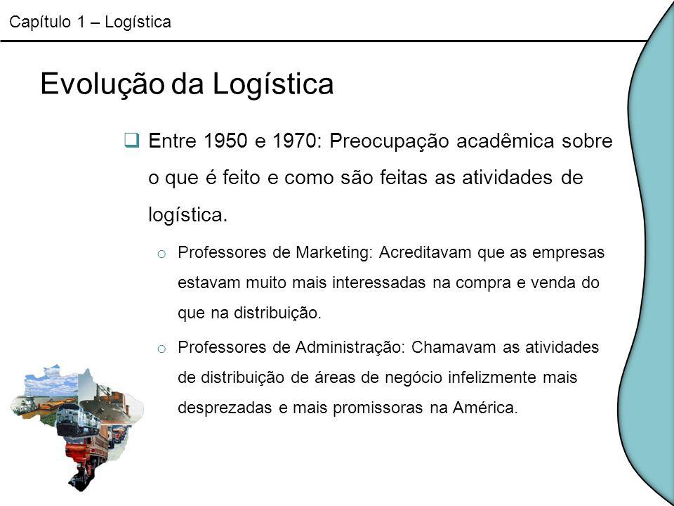 Evolução da Logística Entre 1950 e 1970: Preocupação acadêmica sobre o que é feito e como são feitas as atividades de logística. o Professores de Mark