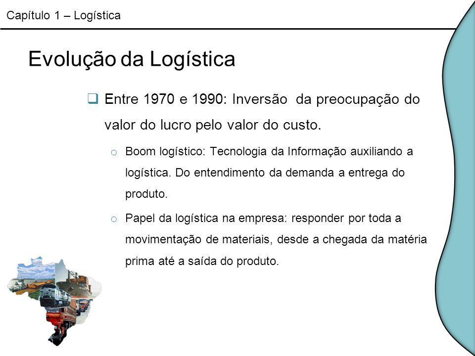 Papel da Logística na Empresa Atividades primárias: o Transporte o Gestão de Estoques o Processamento de pedidos Atividades secundárias: o Armazenagem o Manuseio de materiais o Embalagem de proteção o Programação de produtos o Manutenção de Informação Capítulo 1 – Logística