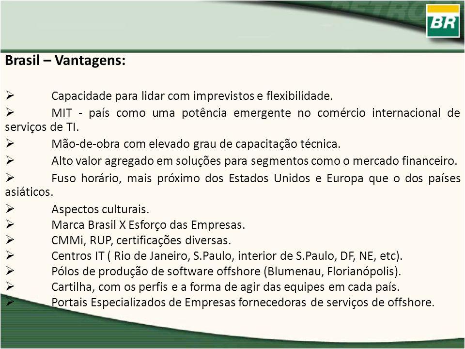 Brasil – Vantagens: Capacidade para lidar com imprevistos e flexibilidade. MIT - país como uma potência emergente no comércio internacional de serviço