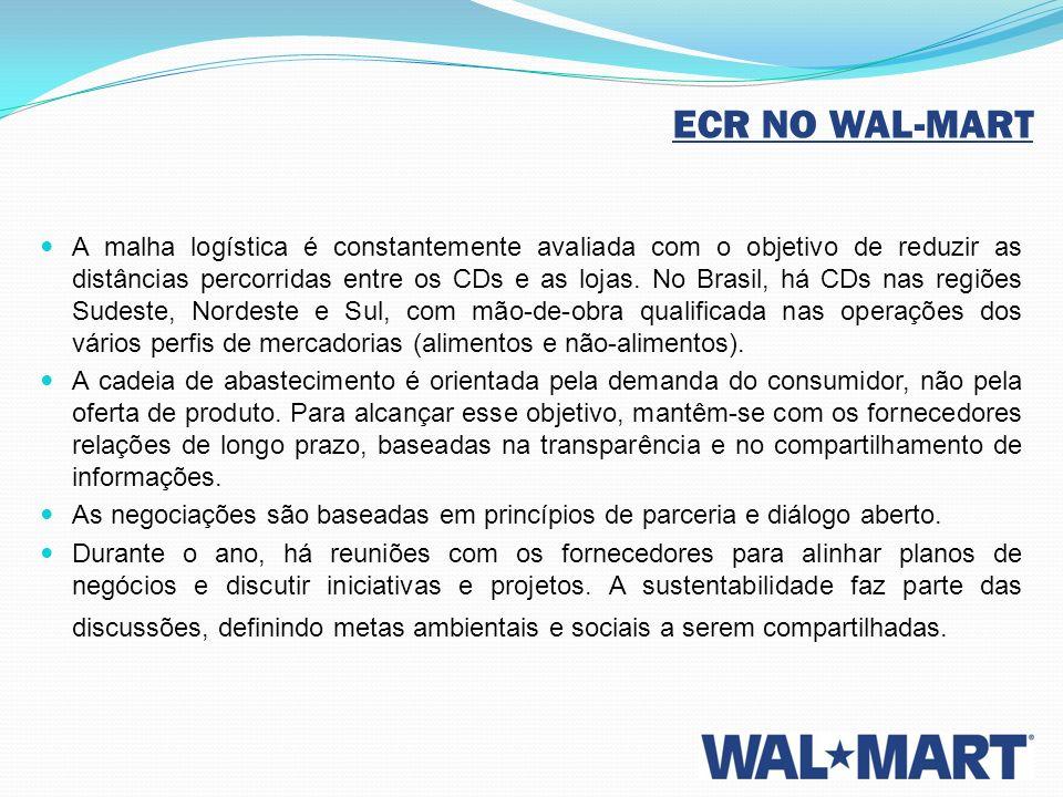 ECR NO WAL-MART A malha logística é constantemente avaliada com o objetivo de reduzir as distâncias percorridas entre os CDs e as lojas. No Brasil, há