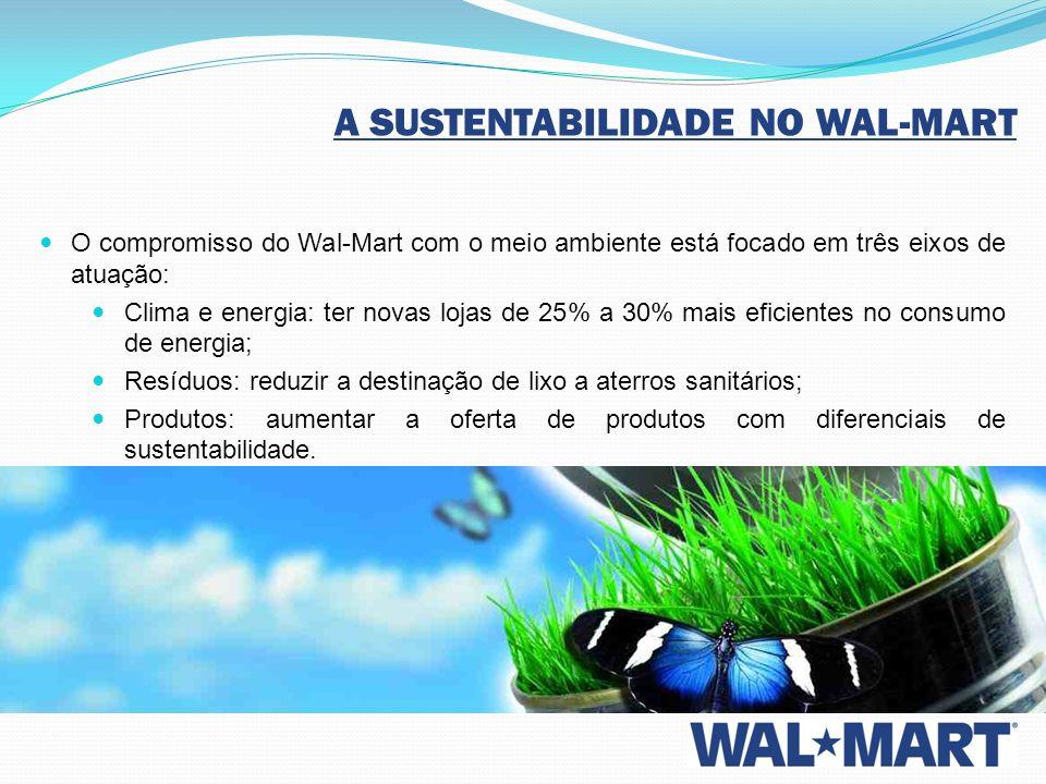 A SUSTENTABILIDADE NO WAL-MART O compromisso do Wal-Mart com o meio ambiente está focado em três eixos de atuação: Clima e energia: ter novas lojas de