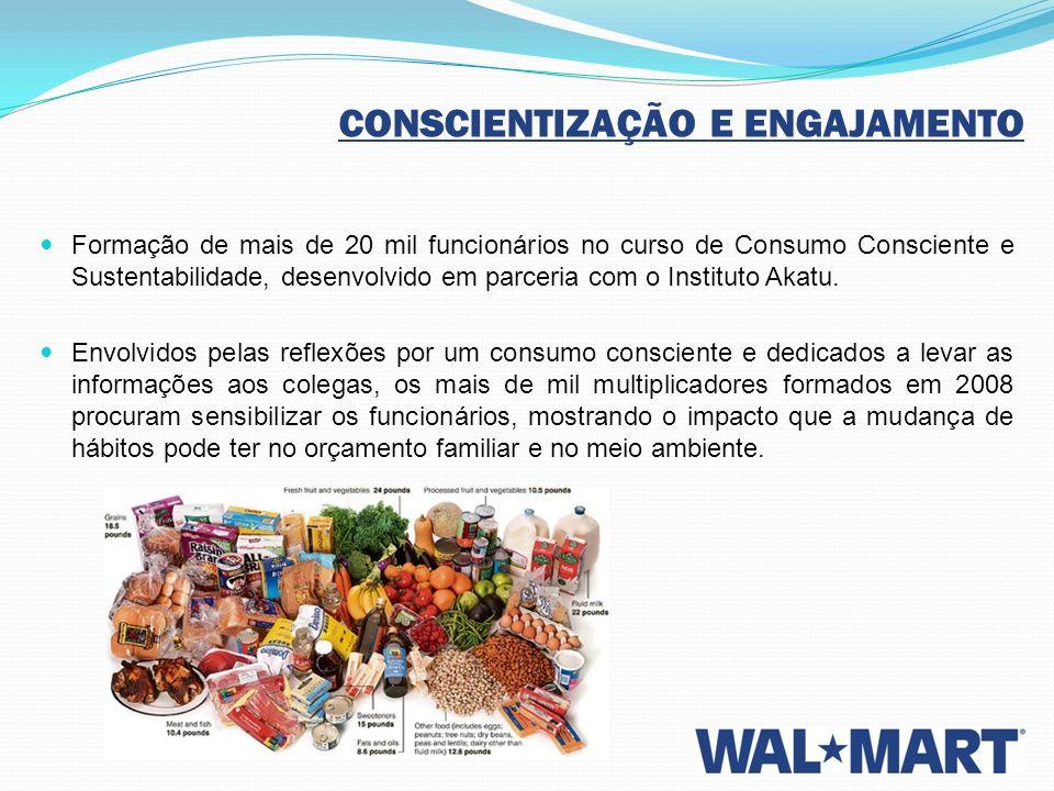 CONSCIENTIZAÇÃO E ENGAJAMENTO Formação de mais de 20 mil funcionários no curso de Consumo Consciente e Sustentabilidade, desenvolvido em parceria com