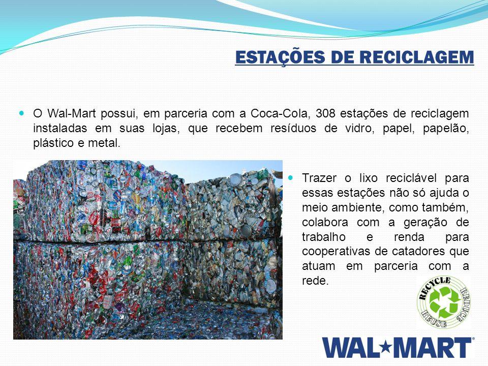 ESTAÇÕES DE RECICLAGEM O Wal-Mart possui, em parceria com a Coca-Cola, 308 estações de reciclagem instaladas em suas lojas, que recebem resíduos de vi