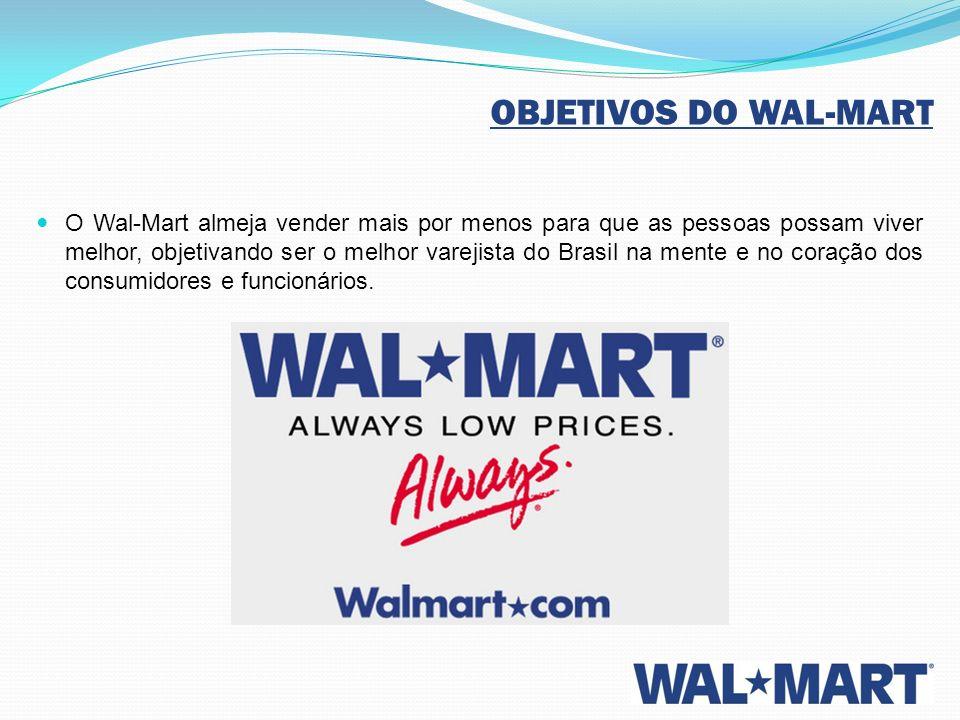 OBJETIVOS DO WAL-MART O Wal-Mart almeja vender mais por menos para que as pessoas possam viver melhor, objetivando ser o melhor varejista do Brasil na