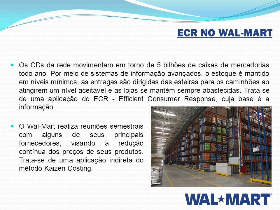 ECR NO WAL-MART Os CDs da rede movimentam em torno de 5 bilhões de caixas de mercadorias todo ano. Por meio de sistemas de informação avançados, o est