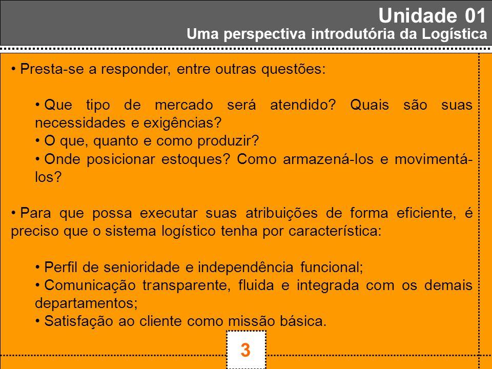 1 3 Unidade 01 Uma perspectiva introdutória da Logística Presta-se a responder, entre outras questões: Que tipo de mercado será atendido? Quais são su