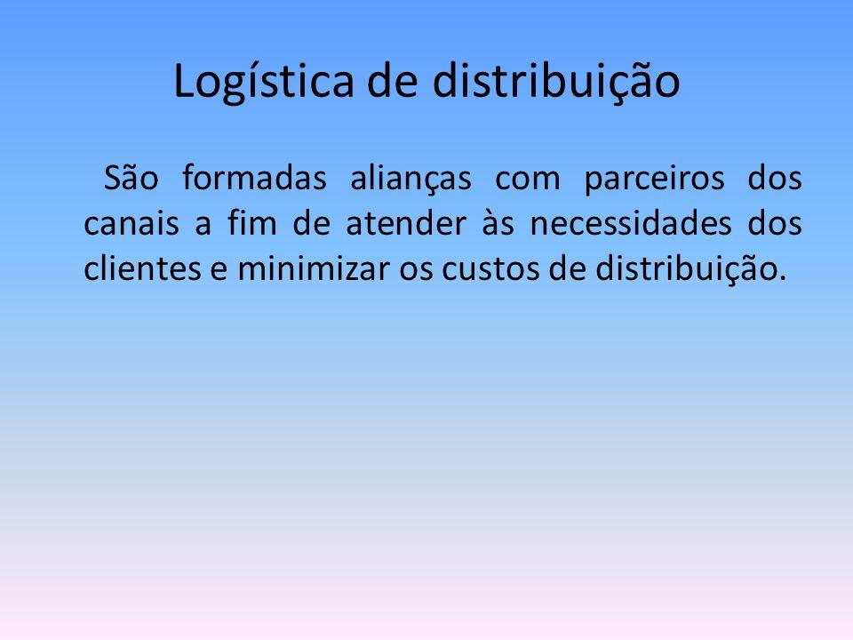Logística de distribuição São formadas alianças com parceiros dos canais a fim de atender às necessidades dos clientes e minimizar os custos de distri