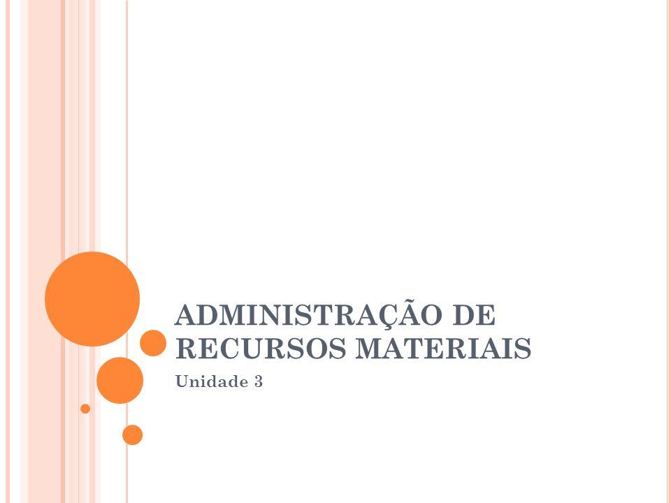 ADMINISTRAÇÃO DE RECURSOS MATERIAIS Unidade 3