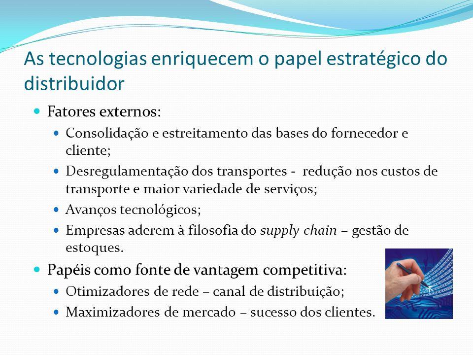 As tecnologias enriquecem o papel estratégico do distribuidor Fatores externos: Consolidação e estreitamento das bases do fornecedor e cliente; Desreg