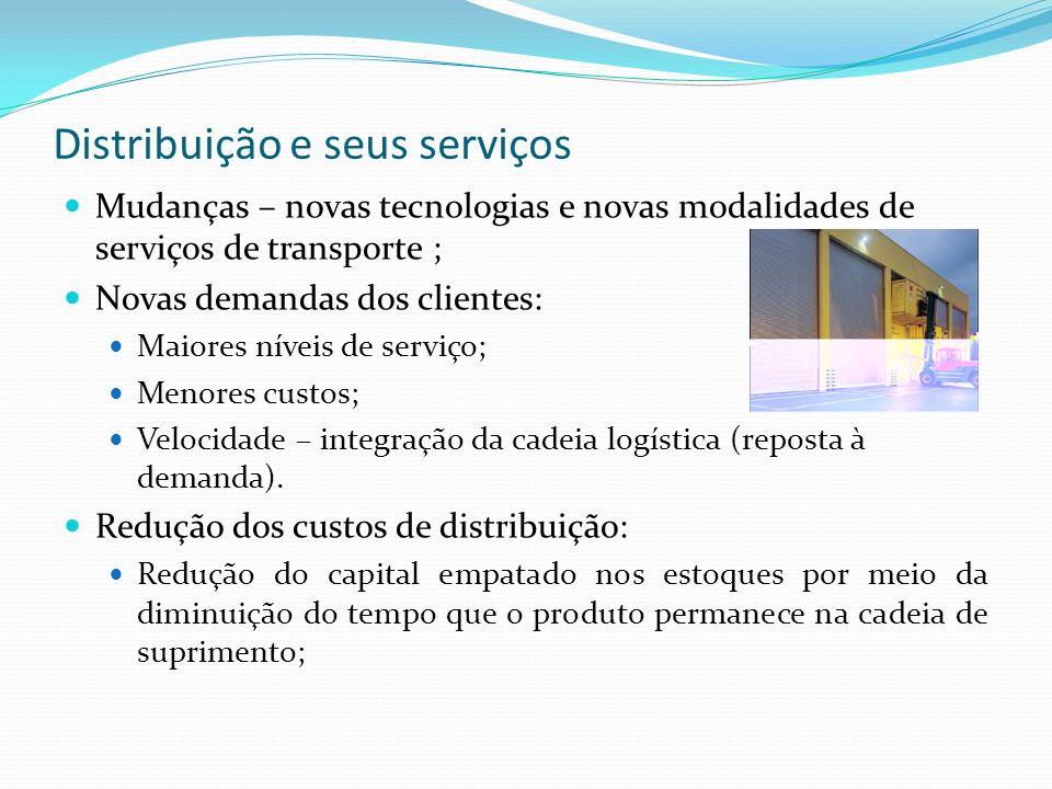 Distribuição e seus serviços Mudanças – novas tecnologias e novas modalidades de serviços de transporte ; Novas demandas dos clientes: Maiores níveis