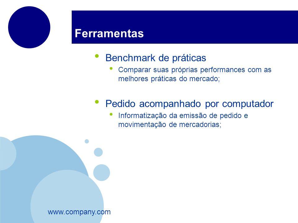www.company.com Ferramentas Benchmark de práticas Comparar suas próprias performances com as melhores práticas do mercado; Pedido acompanhado por comp