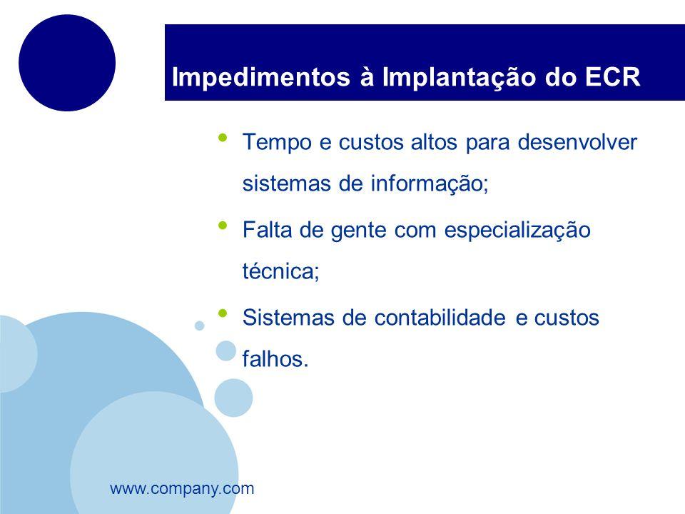 www.company.com Impedimentos à Implantação do ECR Tempo e custos altos para desenvolver sistemas de informação; Falta de gente com especialização técn