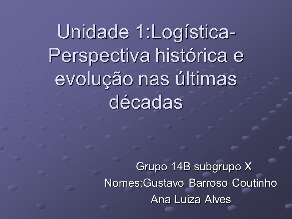 Unidade 1:Logística- Perspectiva histórica e evolução nas últimas décadas Grupo 14B subgrupo X Grupo 14B subgrupo X Nomes:Gustavo Barroso Coutinho Ana Luiza Alves