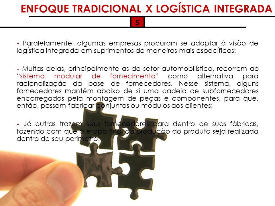 5 - Paralelamente, algumas empresas procuram se adaptar à visão de logística integrada em suprimentos de maneiras mais específicas: - Muitas delas, pr