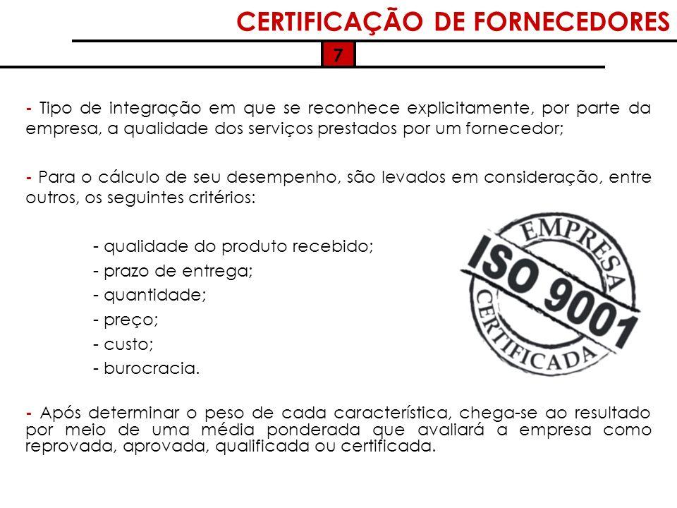 CERTIFICAÇÃO DE FORNECEDORES - Tipo de integração em que se reconhece explicitamente, por parte da empresa, a qualidade dos serviços prestados por um