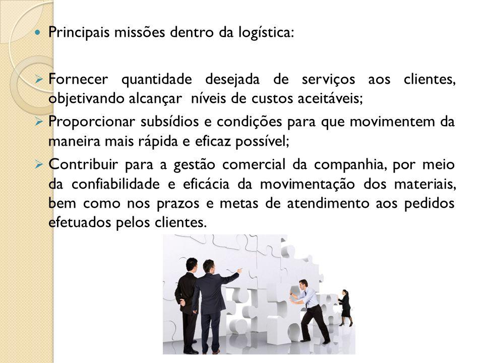 Principais missões dentro da logística: Fornecer quantidade desejada de serviços aos clientes, objetivando alcançar níveis de custos aceitáveis; Propo