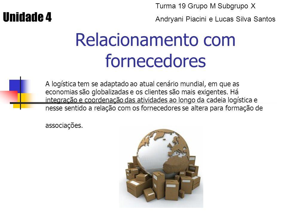 Tipos de relacionamento com fornecedores As associações firmadas podem ser de diversos tipos (p ara cada grupo de fornecedores deve-se adotar um tipo de relacionamento específico).