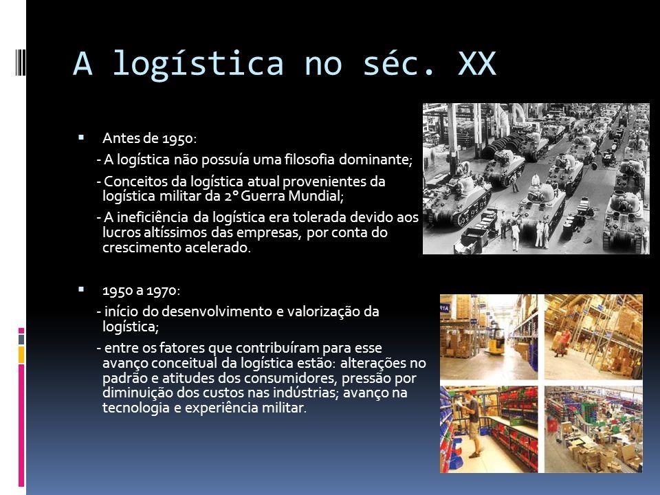 A logística no séc. XX Antes de 1950: - A logística não possuía uma filosofia dominante; - Conceitos da logística atual provenientes da logística mili