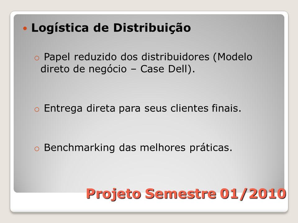 Logística de Distribuição o Papel reduzido dos distribuidores (Modelo direto de negócio – Case Dell). o Entrega direta para seus clientes finais. o Be