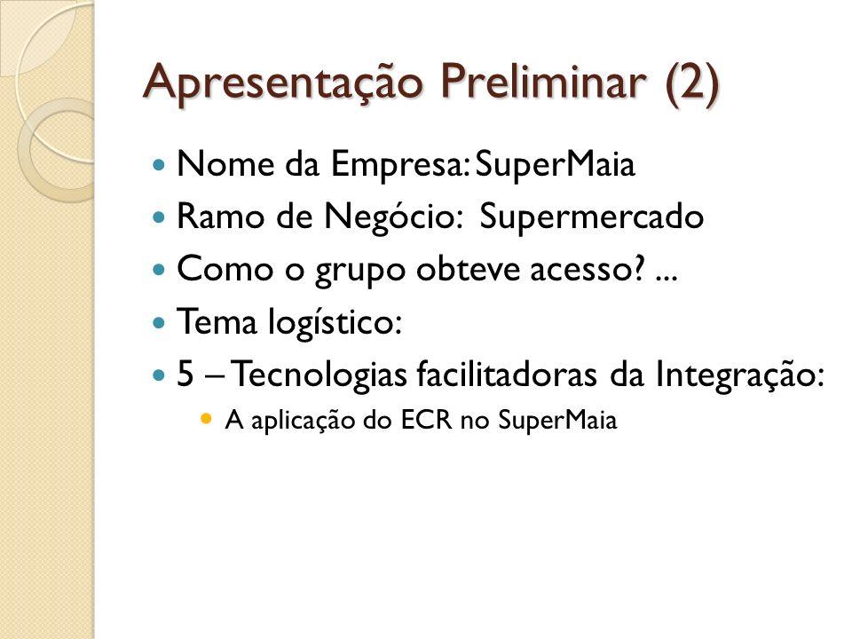 Apresentação Preliminar (2) Nome da Empresa: SuperMaia Ramo de Negócio: Supermercado Como o grupo obteve acesso?...
