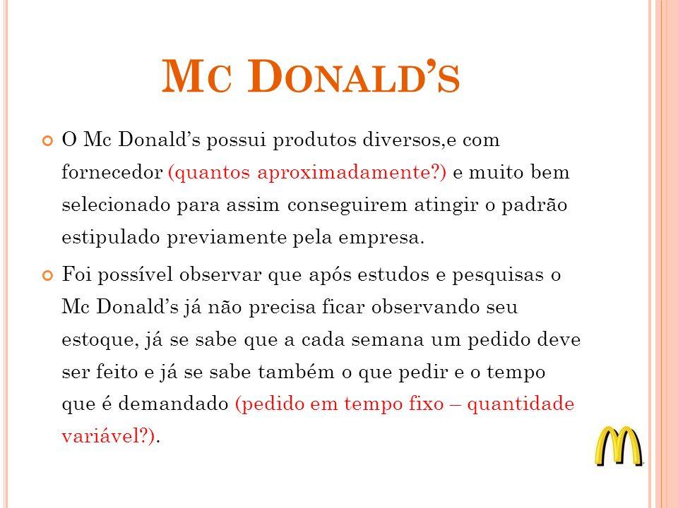 M C D ONALD S O Mc Donalds possui produtos diversos,e com fornecedor (quantos aproximadamente ) e muito bem selecionado para assim conseguirem atingir o padrão estipulado previamente pela empresa.