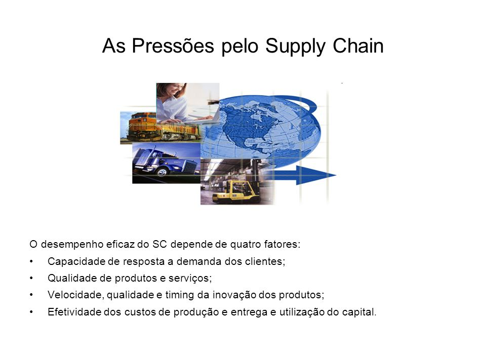 As Pressões pelo Supply Chain O desempenho eficaz do SC depende de quatro fatores: Capacidade de resposta a demanda dos clientes; Qualidade de produtos e serviços; Velocidade, qualidade e timing da inovação dos produtos; Efetividade dos custos de produção e entrega e utilização do capital.