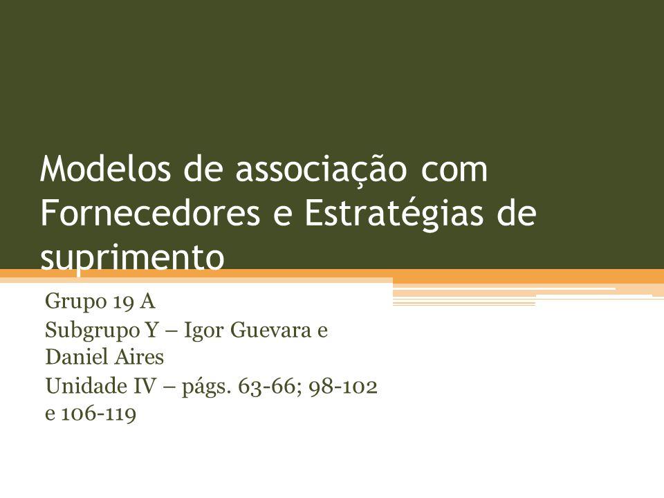Modelos de associação com Fornecedores e Estratégias de suprimento Grupo 19 A Subgrupo Y – Igor Guevara e Daniel Aires Unidade IV – págs. 63-66; 98-10