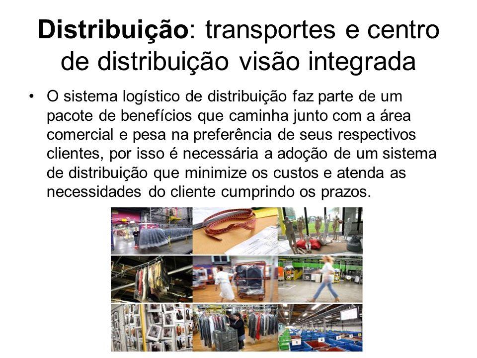 Distribuição: transportes e centro de distribuição visão integrada O sistema logístico de distribuição faz parte de um pacote de benefícios que caminh