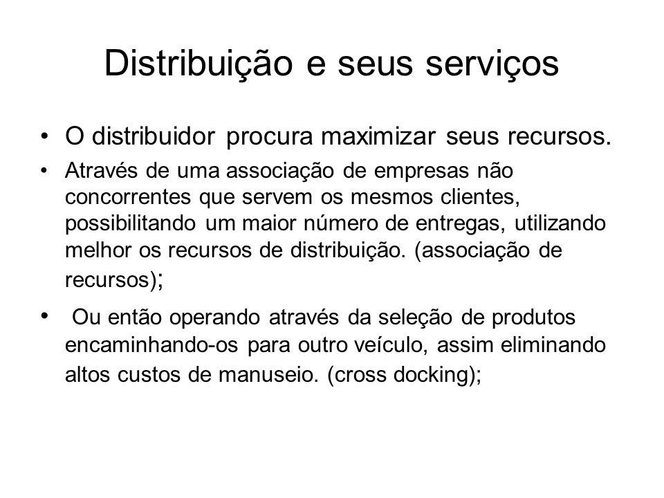 Distribuição e seus serviços O distribuidor procura maximizar seus recursos. Através de uma associação de empresas não concorrentes que servem os mesm