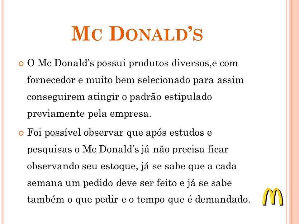 M C D ONALD S O Mc Donalds possui produtos diversos,e com fornecedor e muito bem selecionado para assim conseguirem atingir o padrão estipulado previa