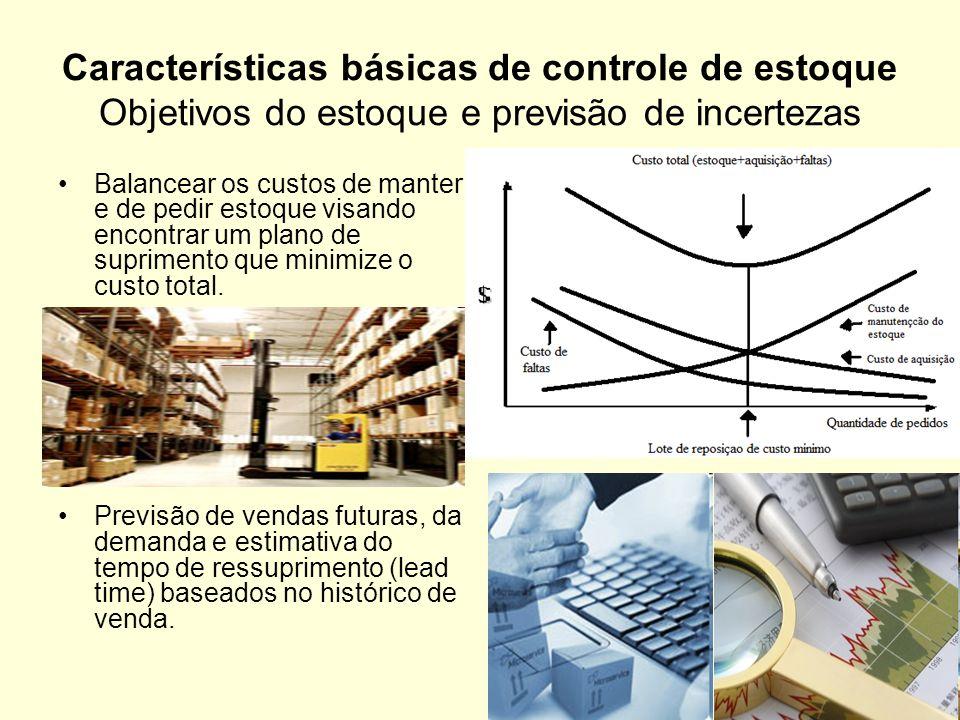 Características básicas de controle de estoque Objetivos do estoque e previsão de incertezas Balancear os custos de manter e de pedir estoque visando