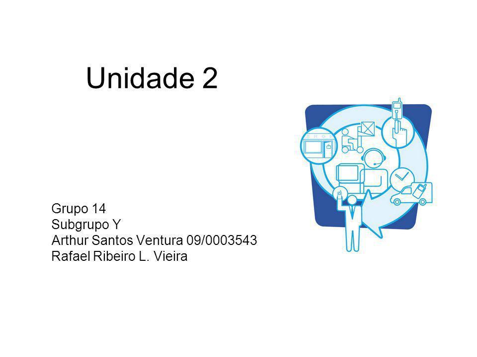 Unidade 2 Grupo 14 Subgrupo Y Arthur Santos Ventura 09/0003543 Rafael Ribeiro L. Vieira