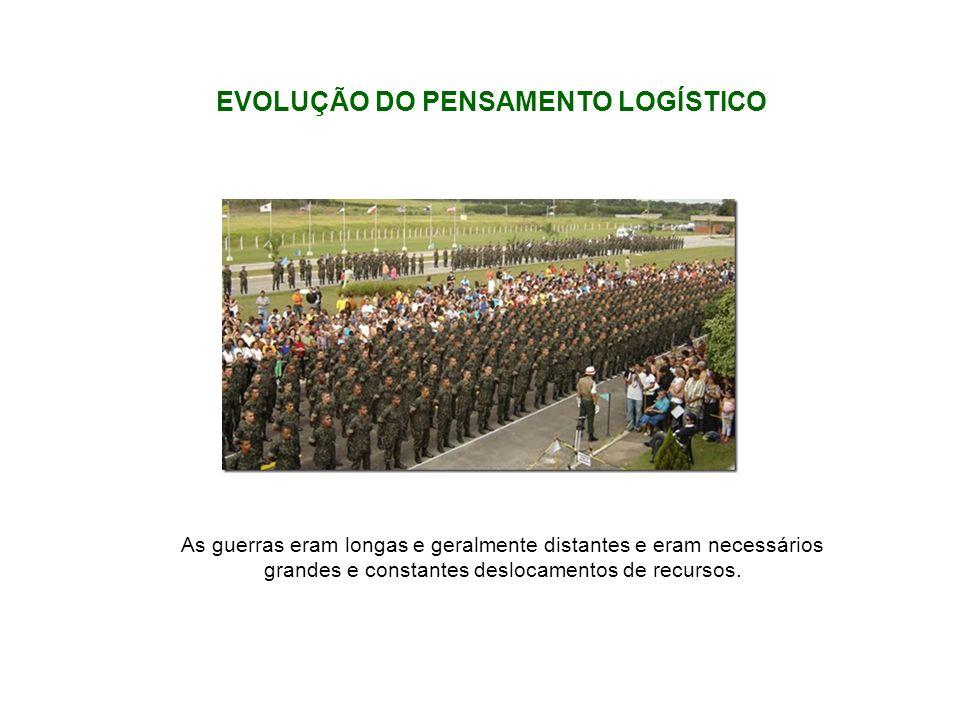 EVOLUÇÃO DO PENSAMENTO LOGÍSTICO As guerras eram longas e geralmente distantes e eram necessários grandes e constantes deslocamentos de recursos.