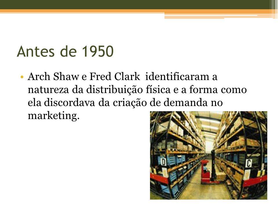 Antes de 1950 Arch Shaw e Fred Clark identificaram a natureza da distribuição física e a forma como ela discordava da criação de demanda no marketing.