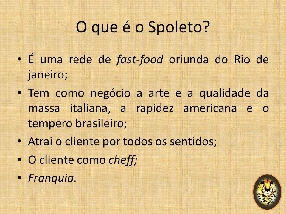 O que é o Spoleto? É uma rede de fast-food oriunda do Rio de janeiro; Tem como negócio a arte e a qualidade da massa italiana, a rapidez americana e o