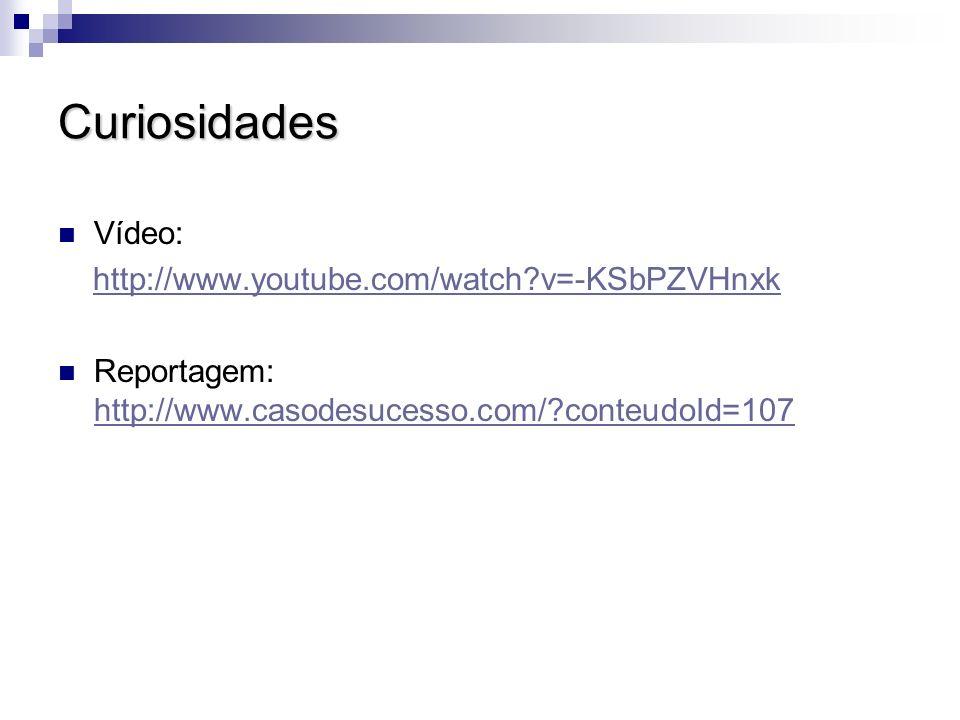 Curiosidades Vídeo: http://www.youtube.com/watch?v=-KSbPZVHnxk Reportagem: http://www.casodesucesso.com/?conteudoId=107 http://www.casodesucesso.com/?