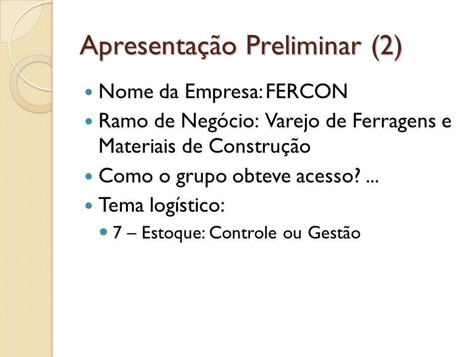 Apresentação Preliminar (2) Nome da Empresa: FERCON Ramo de Negócio: Varejo de Ferragens e Materiais de Construção Como o grupo obteve acesso ...