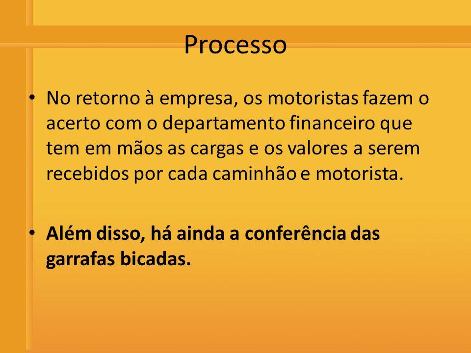 Distribuidora de Bebidas Rio Preto Processo No retorno à empresa, os motoristas fazem o acerto com o departamento financeiro que tem em mãos as cargas