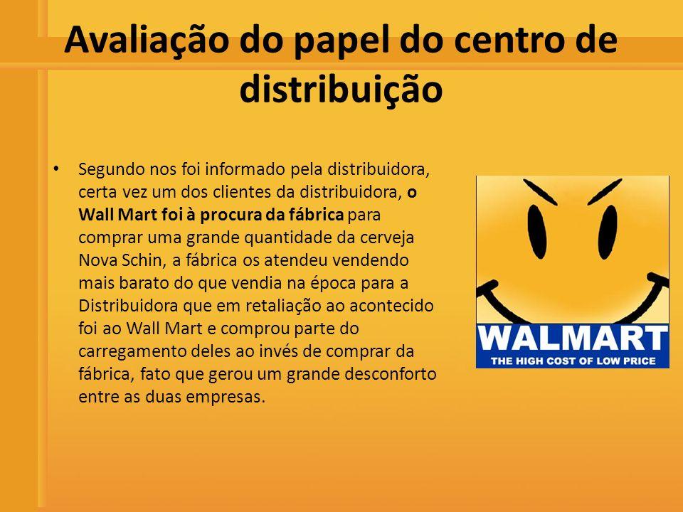 Distribuidora de Bebidas Rio Preto Avaliação do papel do centro de distribuição Segundo nos foi informado pela distribuidora, certa vez um dos cliente