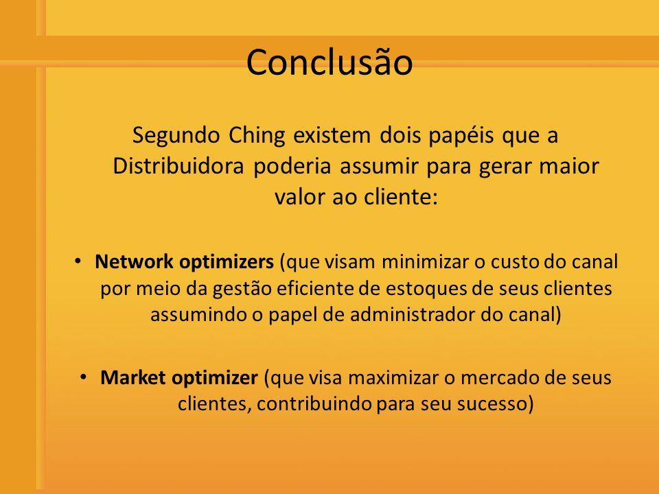 Distribuidora de Bebidas Rio Preto Conclusão Segundo Ching existem dois papéis que a Distribuidora poderia assumir para gerar maior valor ao cliente: