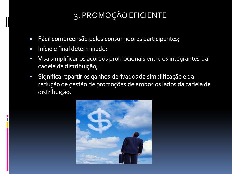 3. PROMOÇÃO EFICIENTE Fácil compreensão pelos consumidores participantes; Início e final determinado; Visa simplificar os acordos promocionais entre o