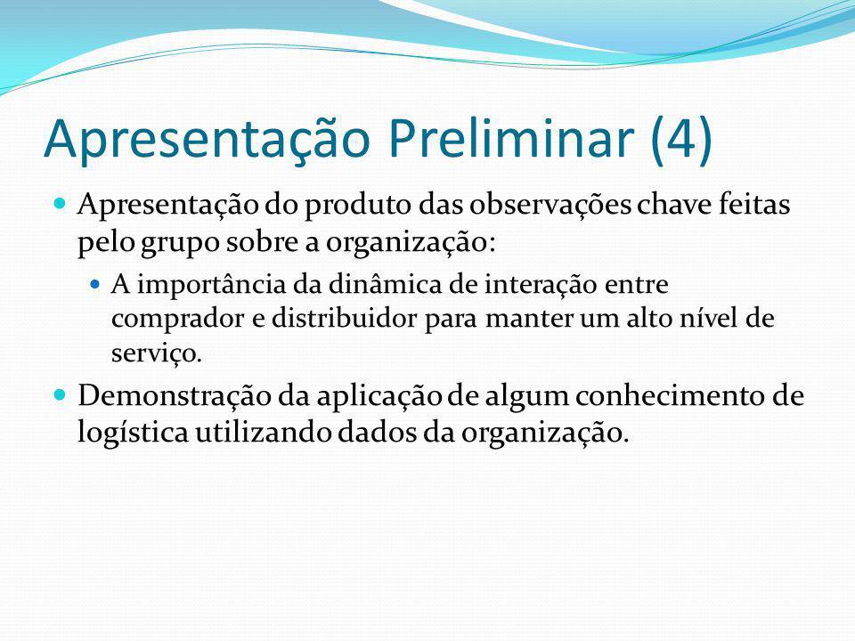 Apresentação Preliminar (4) Apresentação do produto das observações chave feitas pelo grupo sobre a organização: A importância da dinâmica de interaçã