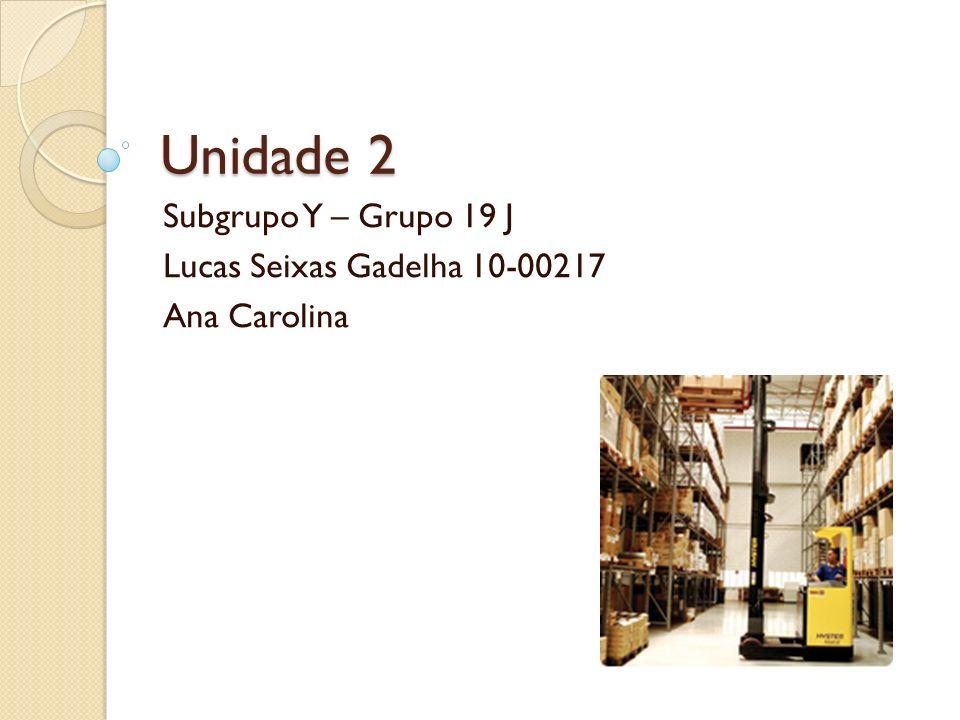 Unidade 2 Subgrupo Y – Grupo 19 J Lucas Seixas Gadelha 10-00217 Ana Carolina