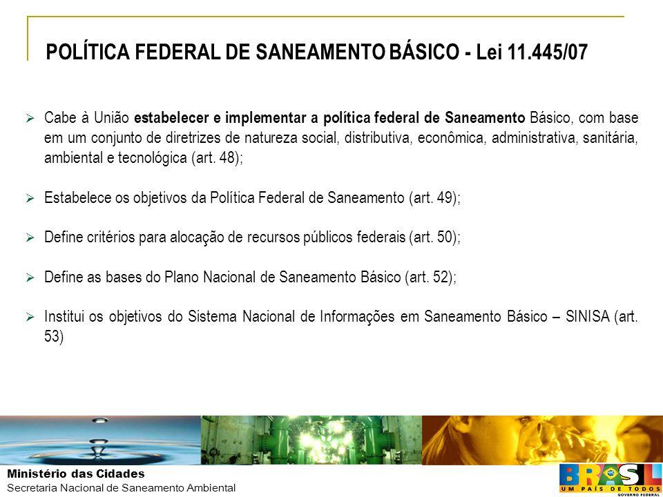 Ministério das Cidades Secretaria Nacional de Saneamento Ambiental Cabe à União estabelecer e implementar a política federal de Saneamento Básico, com