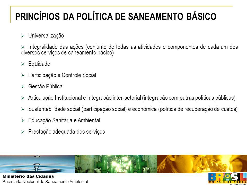Ministério das Cidades Secretaria Nacional de Saneamento Ambiental Universalização Integralidade das ações (conjunto de todas as atividades e componen