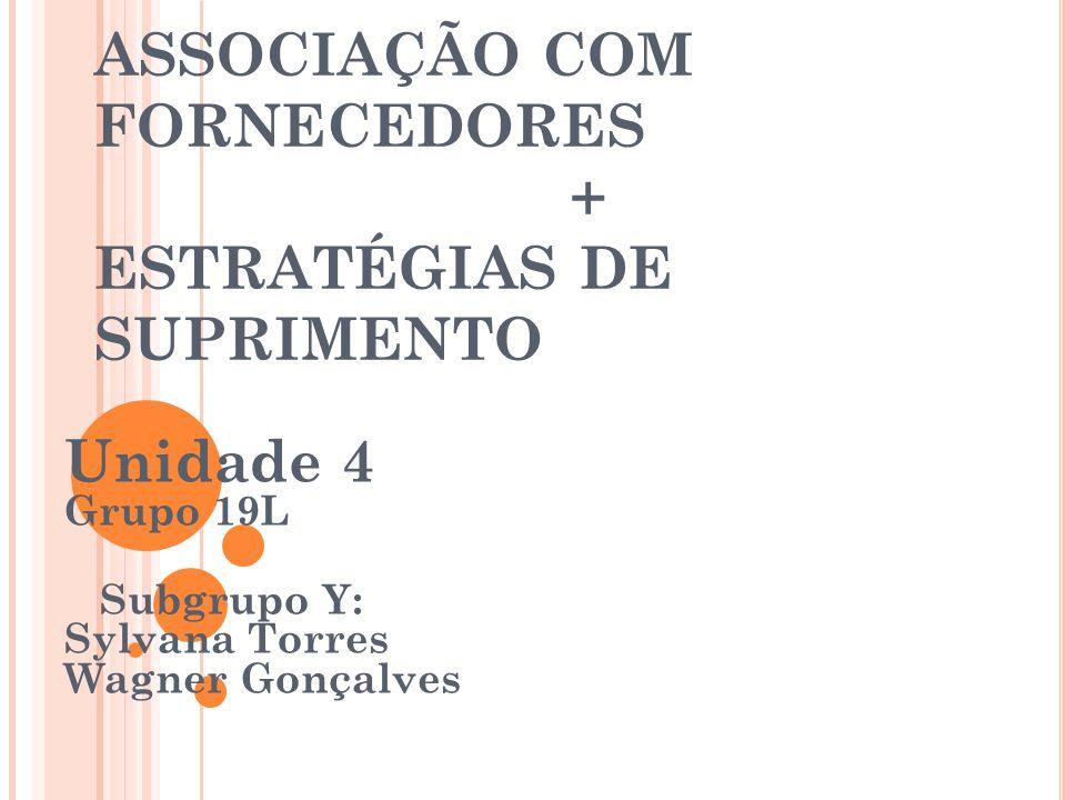 ASSOCIAÇÃO COM FORNECEDORES + ESTRATÉGIAS DE SUPRIMENTO Unidade 4 Grupo 19L Subgrupo Y: Sylvana Torres Wagner Gonçalves