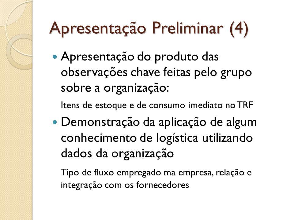 Apresentação Preliminar (4) Apresentação do produto das observações chave feitas pelo grupo sobre a organização: Itens de estoque e de consumo imediat