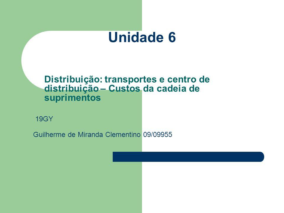 Unidade 6 Distribuição: transportes e centro de distribuição – Custos da cadeia de suprimentos Guilherme de Miranda Clementino 09/09955 19GY