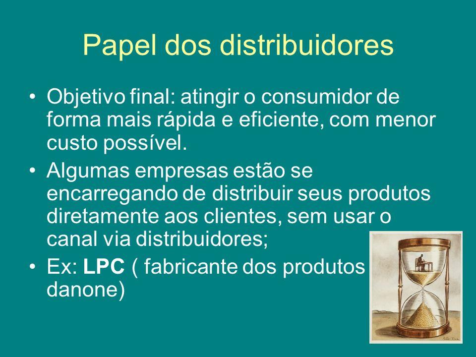 Papel dos distribuidores Objetivo final: atingir o consumidor de forma mais rápida e eficiente, com menor custo possível. Algumas empresas estão se en