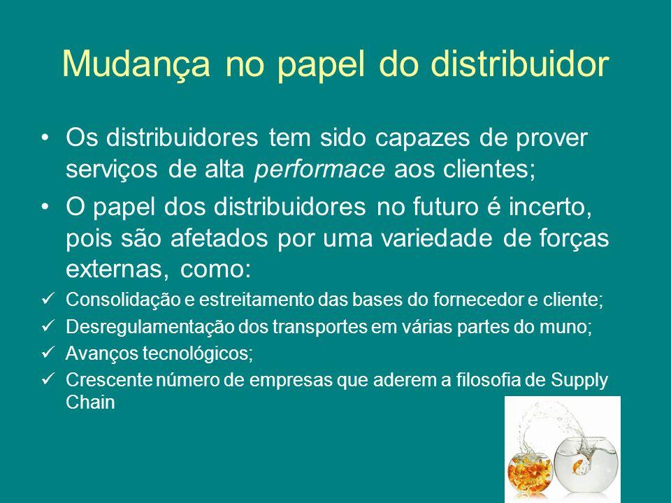 Mudança no papel do distribuidor Os distribuidores tem sido capazes de prover serviços de alta performace aos clientes; O papel dos distribuidores no